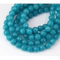 Light Denim Blue Candy Jade Beads, 6mm Faceted Round