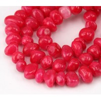 Berry Pink Candy Jade Beads, Medium Nugget