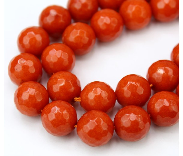 Orange Candy Jade Beads, 12mm Faceted Round