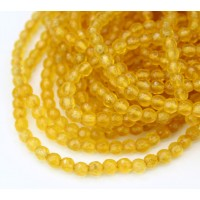 Sun Yellow Candy Jade Beads, 4mm Faceted Round