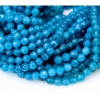 Denim Blue Candy Jade Beads, 4mm Faceted Round