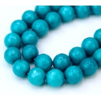 Cyan Blue Candy Jade Beads, 10mm Faceted Round