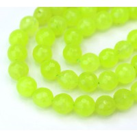 Neon Green Candy Jade Beads, 8mm Faceted Round