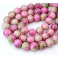 Pastel Pink Mix Multicolor Jade Beads, 8mm Round