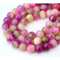 Wild Pink Mix Multicolor Jade Beads, 8mm Round