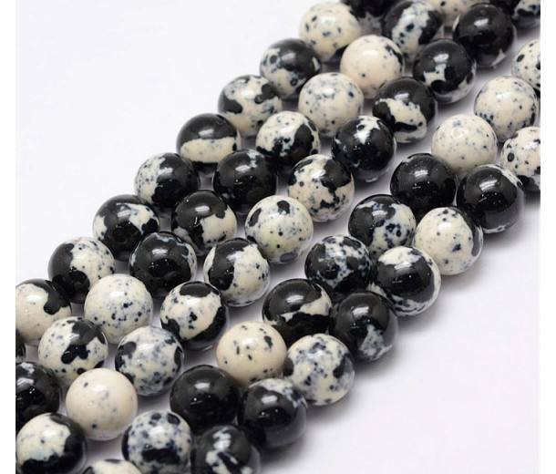 Speckled Egg Mix Multicolor Jade Beads, 8mm Round