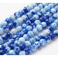 Delft Blue Mix Multicolor Jade Beads, 8mm Round