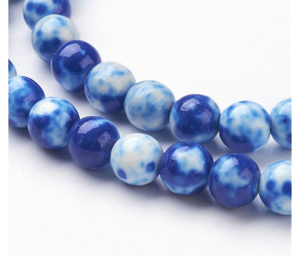 Delft Blue Mix Multicolor Jade Beads, 6mm Round