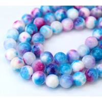 Light Blue and Pink Multicolor Jade Beads, 8mm Round