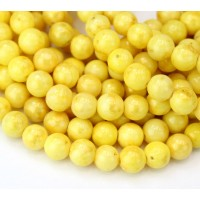 Yellow with Gold Paint Mountain Jade Beads, 8mm Round