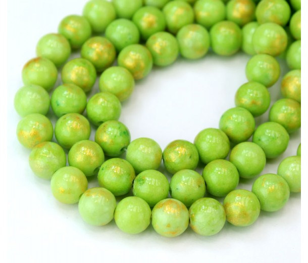 Light Green with Gold Paint Mountain Jade Beads, 8mm Round