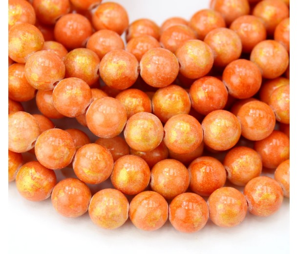 Orange with Gold Paint Mountain Jade Beads, 8mm Round