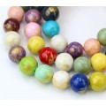 Multicolor with Gold Paint Mountain Jade Beads, 10mm Round