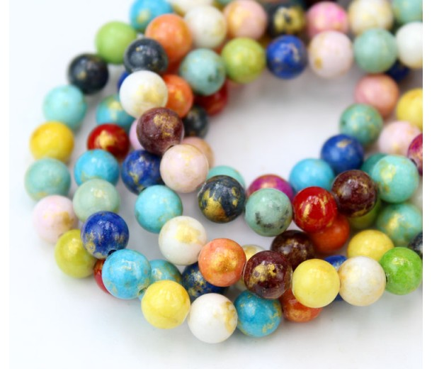 Multicolor with Gold Paint Mountain Jade Beads, 6mm Round