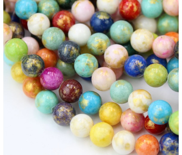 Multicolor with Gold Paint Mountain Jade Beads, 8mm Round