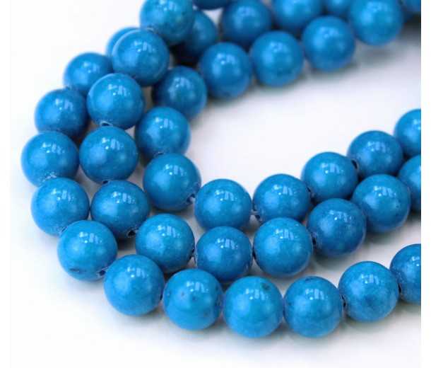 Denim Blue Mountain Jade Beads, 8mm Round