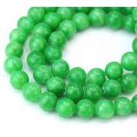 Kelly Green Mountain Jade Beads, 8mm Round