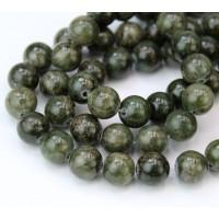 Dark Moss Green Mountain Jade Beads, 8mm Round