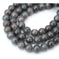 Dark Teal Grey Mountain Jade Beads, 8mm Round