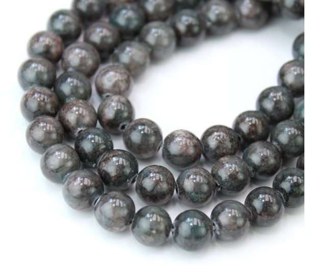 Dark Teal Grey Mountain Jade Beads, 8mm Round