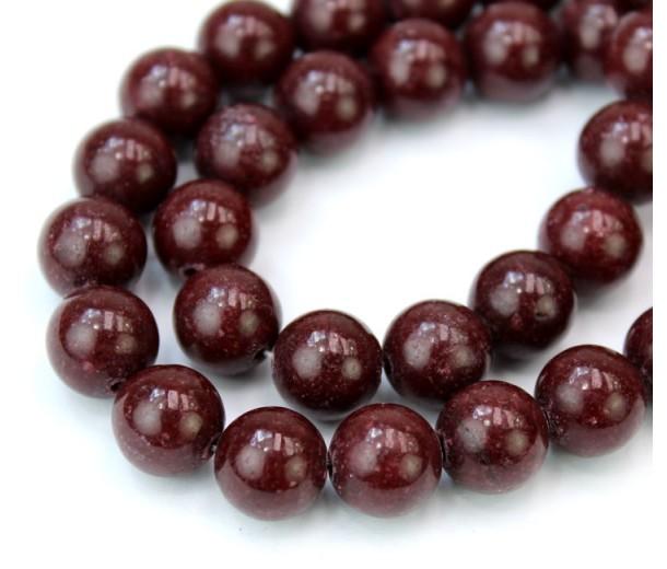Mahogany Red Mountain Jade Beads, 10mm Round