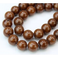 Caramel Brown Mountain Jade Beads, 10mm Round