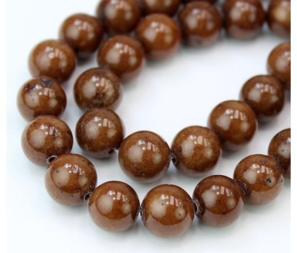Caramel Brown Mountain Jade Beads, 10mm Round