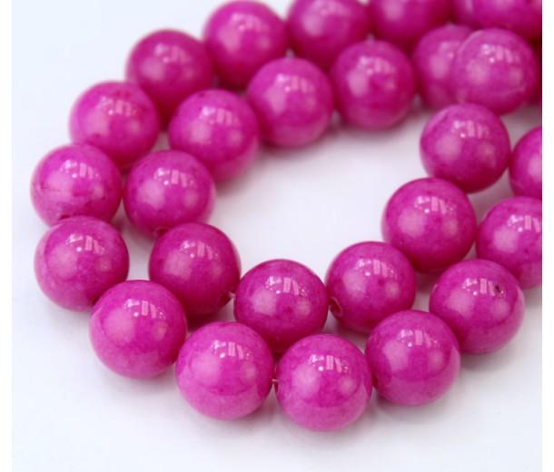 Fuchsia Pink Mountain Jade Beads, 10mm Round