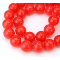Flame Red Semi-Transparent Jade Beads, 12mm Round