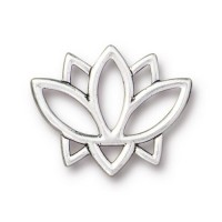 19mm Open Lotus Flower Link by TierraCast, Antique Silver