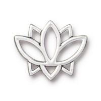 19mm Open Lotus Flower Link by TierraCast, Antique Silver