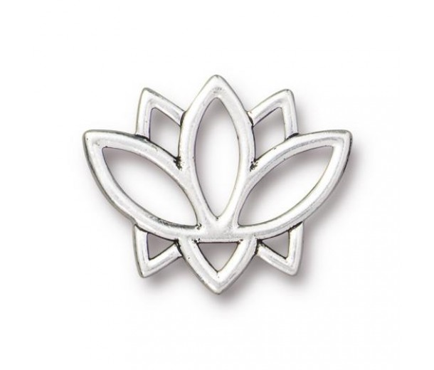 19mm Open Lotus Flower Link by TierraCast, Antique Silver, 1 Piece