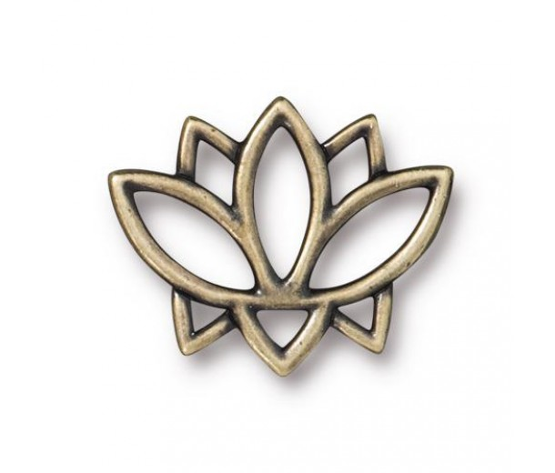 19mm Open Lotus Flower Link by TierraCast, Antique Brass