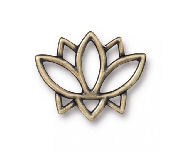 19mm Open Lotus Flower Link by TierraCast, Antique Brass