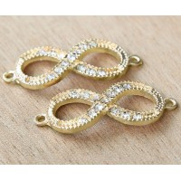 16x40mm Rhinestone Infinity Links, Gold Tone, Pack of 4