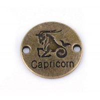 23mm Zodiac Sign Round Link, Capricorn, Antique Brass, 1 Piece