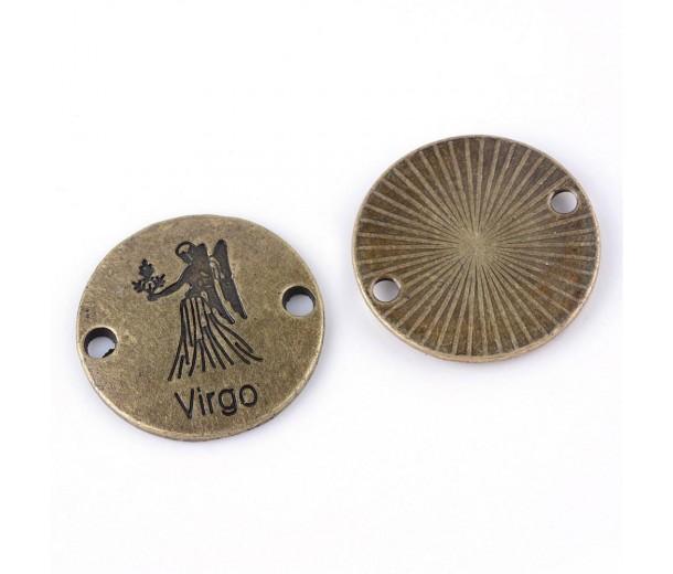 23mm Zodiac Sign Round Link, Virgo, Antique Brass, 1 Piece