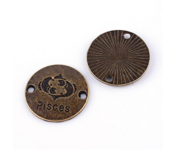 23mm Zodiac Sign Round Links, Pisces, Antique Brass