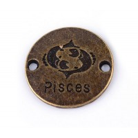 23mm Zodiac Sign Round Link, Pisces, Antique Brass, 1 Piece