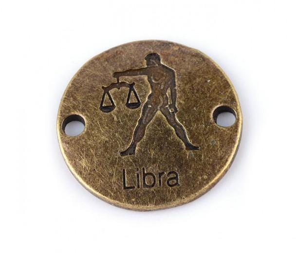 23mm Zodiac Sign Round Link, Libra, Antique Brass, 1 Piece