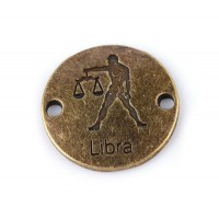 23mm Zodiac Sign Round Link, Libra, Antique Brass, 1 Piece