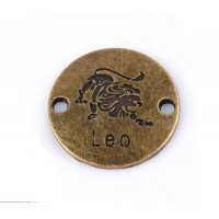 23mm Zodiac Sign Round Links, Leo, Antique Brass, 1 Piece