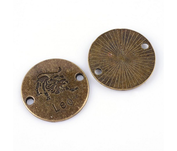 23mm Zodiac Sign Round Links, Leo, Antique Brass, 1 Piece