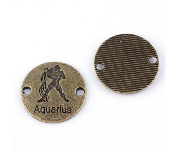 23mm Zodiac Sign Round Link, Aquarius, Antique Brass, 1 Piece
