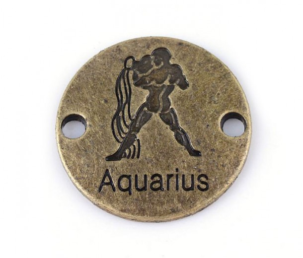 23mm Zodiac Sign Round Link, Aquarius, Antique Brass, 1 Piece