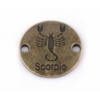 23mm Zodiac Sign Round Link, Scorpio, Antique Brass, 1 Piece