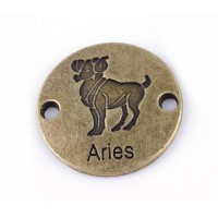 23mm Zodiac Sign Round Link, Aries, Antique Brass, 1 Piece