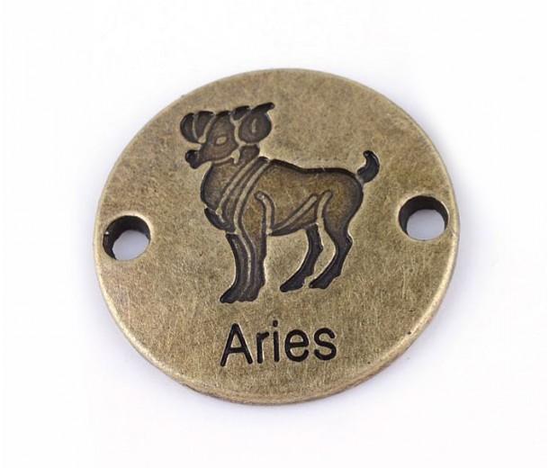 23mm Zodiac Sign Round Link, Aries, Antique Brass, 1 Piece