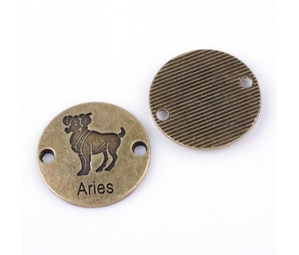 23mm Zodiac Sign Round Links, Aries, Antique Brass