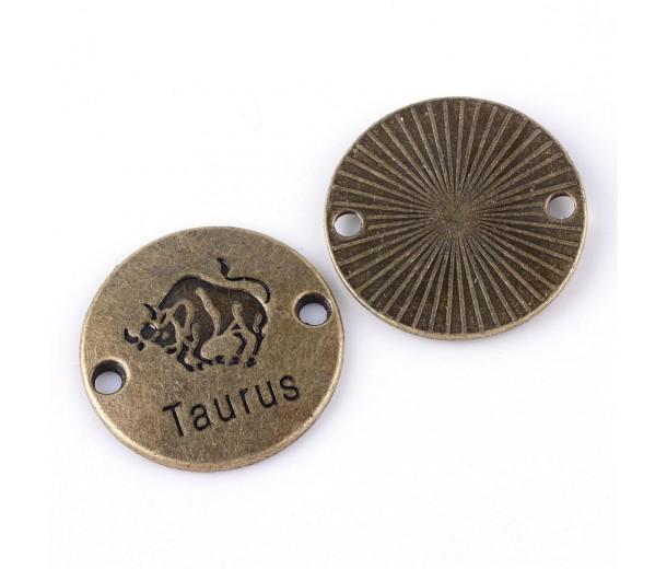 23mm Zodiac Sign Round Link, Taurus, Antique Brass, 1 Piece